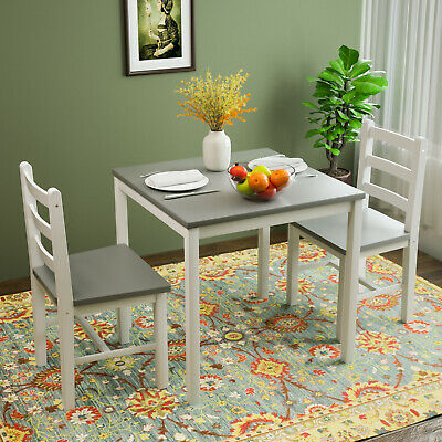$109.90 • Buy 3PCS Dining Table Set 2 Chairs Kitchen Dining Room Furniture Pine Wood Grey