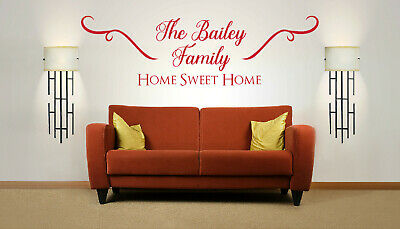 £19.99 • Buy Personalised Family Name 'Home Sweet Home', Wall Art Sticker, Mural, Decal.