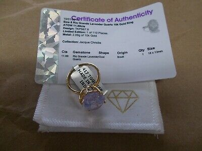$500 • Buy Rio Grande Lavender Quartz 10K Yellow Gold Ring Size 8 11.88ct W/ Certificate Of