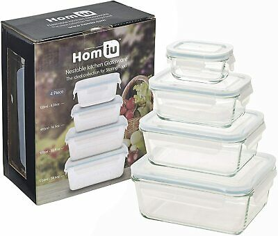 £14.99 • Buy Homiu 8pcs Food Glass Containers Storage Set, Cookware 4 Containers & Lids Clear