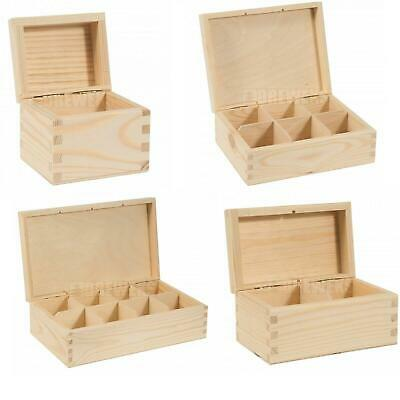 1/2/3/4/6/8/9/12 Compartments Wooden Tea Bag Box Natural Wood Decoupage Storage • 10.97£