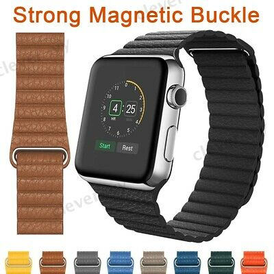 $ CDN14.21 • Buy Magnetic Leather Loop Band Strap For Apple Watch Series 5 4 3 2 1 40/44/38/42mm