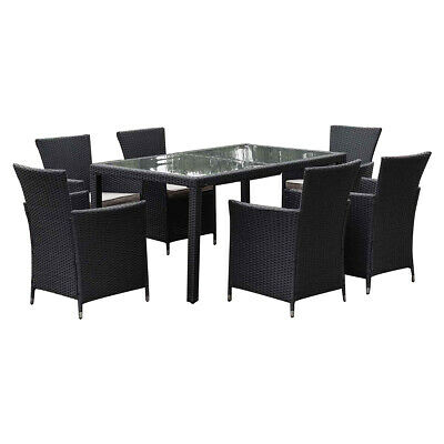 AU652 • Buy 7 Pieces Outdoor Furniture Dining Set Rattan Table Chair Garden Patio Pool