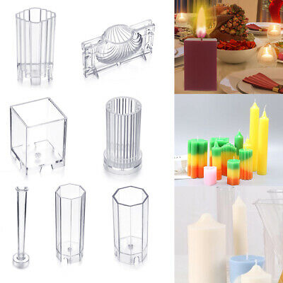 Handmade Clear DIY Candle Mold Candle Making Mould Soap Molds Clay Craft Tool • 5.73£
