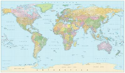 AU22.90 • Buy MAP OF THE WORLD UV LAMINATED LARGE POSTER 92X62CM / 24X36 With All City Names