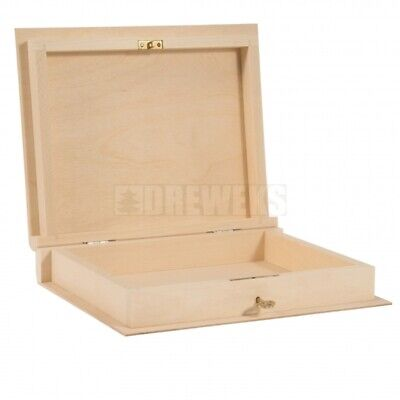Wooden Book Shaped Box With Key Paint Yourself Decoupage • 11.97£