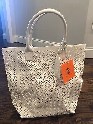 $44.99 • Buy Tory Burch Large White Lace Perforated Patent Tote Bag Handbag NWT