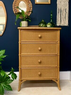 Vintage Lloyd Loom W. Lusty & Sons Wicker, Cane, Rattan, Bamboo Chest Of Drawers • 575£