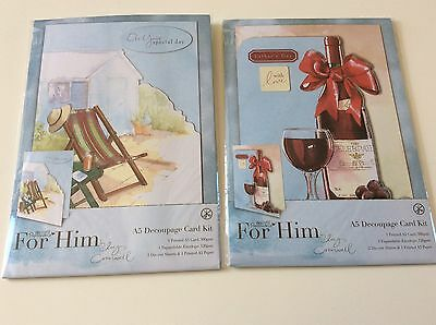 NEW DOCRAFTS LUCY CROMWELL 2 For Him Decoupage Paper Craft A5 Card Kits Father • 6.95£