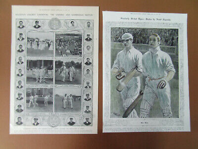 ANTIQUE CRICKET 2 OXFORD & CAMBRIDGE PRINTS 1910 &1906 ONE COLOURED 26X37cm • 11.99£