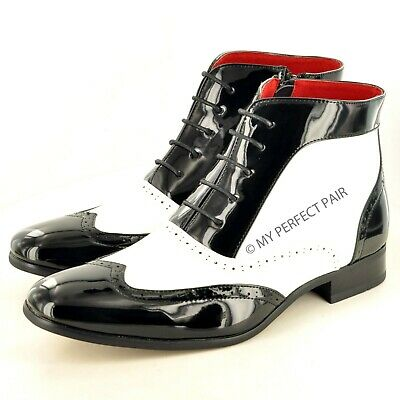New Mens Two Tone Black White Brogue Ankle Boots Leather Lined In UK Size 6-12  • 29.99£
