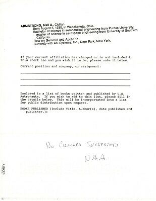 $750 • Buy Neil Armstrong - Autograph Endorsement Signed - Updates Bio Records For NASA