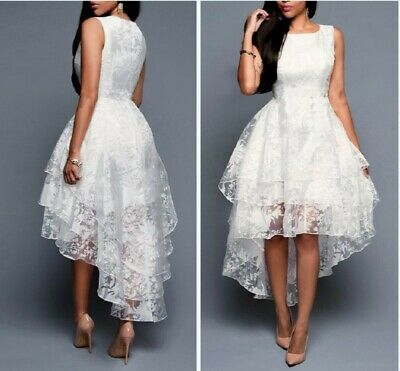Women Formal Lace Mesh Cocktail Ball Gown High-low Wedding Bridesmaid Prom Dress • 24.29£