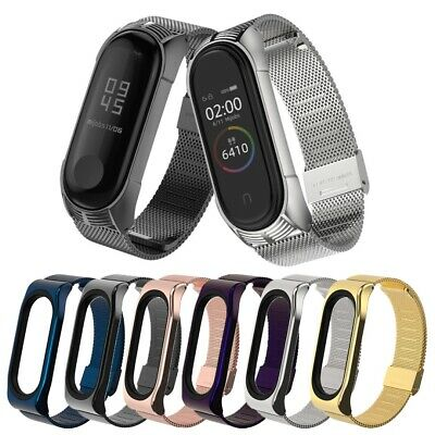 $7.99 • Buy Stainless Steel Case Watch Strap Replacement For Xiaomi Mi Band 3/4 Wrist Band