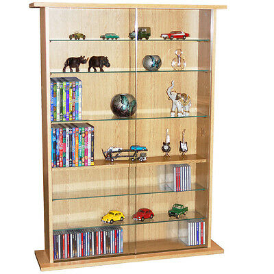 BOSTON  Glass Collectable Display Cabinet  CD DVD Storage Shelves- Beech MS0641 • 157.99£