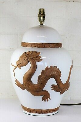 Table Lamp A Large Vintage Oriental Chinese Ceramic Lamp With Dragon Decoration • 87£