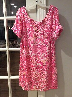 $39.99 • Buy Lilly Pulitzer Shift Dress In Fabulous Print Sailors Valentine Hotty Pink Size L