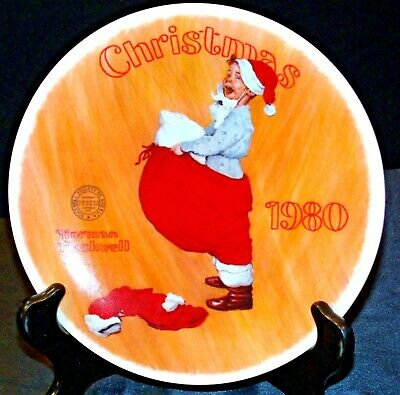 "$ CDN52.30 • Buy 1980 ""Scotty Plays Santa"" By Norman Rockwell Plate With Box ( Knowles ) AA20- CP"