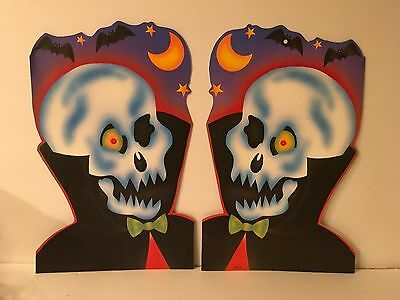 $ CDN16.84 • Buy Vtg Eureka Diecut Skeletons Halloween Lot Of 2 Moon Bats Decorations