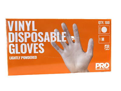 AU24.90 • Buy Pro Choice Safety Gear Disposable Vinyl Lightly Powdered Glove 100pc Size M DVNM
