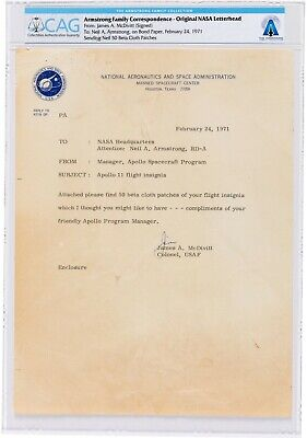 $1000 • Buy Letter Signed By Jim McDivitt To Neil Armstrong - Re/ Apollo 11 Flight Insignia