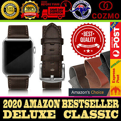AU6.45 • Buy For Apple Watch Band Series 5 4 3 2 1 IWatch Genuine Leather Strap 42 44 Deluxe