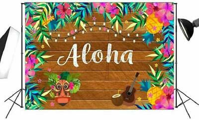 7x5ft Tropical Hawaiian Aloha Backdrop For Luau Party Decorations With Wooden An • 16.44£