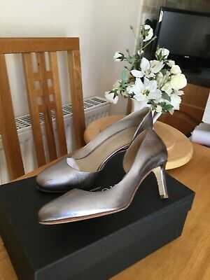 Hobbs Leather Shoes Size 5.5 Shining Pewter • 5.99£
