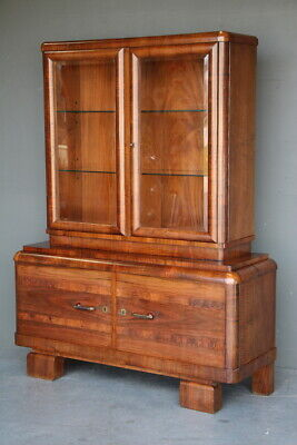 AU1850 • Buy Antique Original 1930 French Art Deco Sideboard Display Cabinet Glazed Walnut