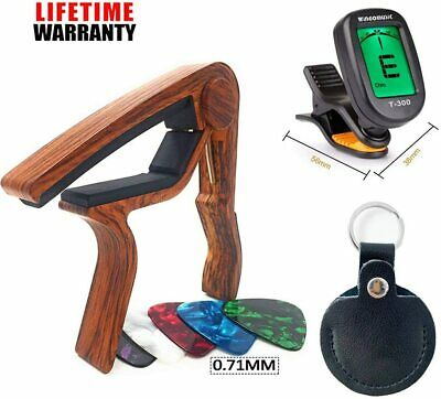 $ CDN18.26 • Buy WINGO Acoustic Guitar Capo Electric Guitar Clip-on Tuner With Leather Picks Hold