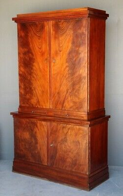 AU3895 • Buy Antique Art Deco French Two Height Sideboard Bookcase Flame Mahogany Superb 1930