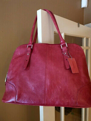 $ CDN74.88 • Buy Danier Leather Red Handbag Brick Red Wine Soft Leather Purse Tablet Bag Secure