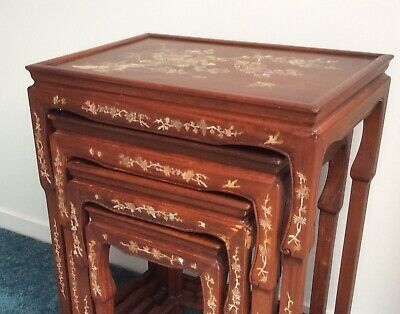 AU200 • Buy Antique Chinese Rosewood Mother Of Pearl Nest Of 4 Tables Circa 1900 - Byron Bay