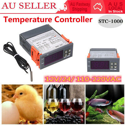 AU18.79 • Buy Digital Temperature Controller 12-240V Thermostat Thermometer 2 Relays W/ Sensor