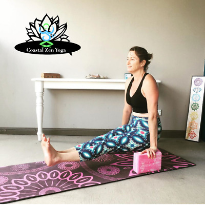 AU24.99 • Buy Pink Marbled Yoga Block With Strap