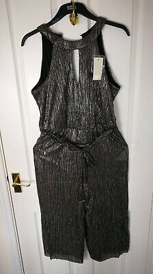 New FF Womens Ladies Playsuit Size 14 Silver Summer Promo Jumpsuit  V Neck BB • 9£