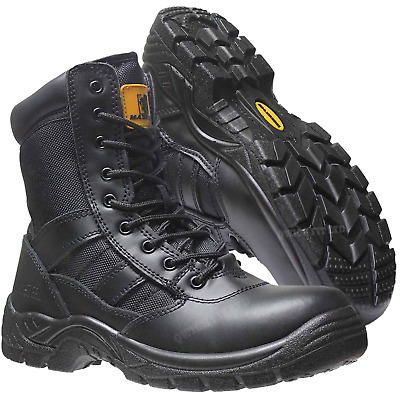 £28.90 • Buy Mens Tactical Side Zip Army Patrol Combat Boots Security Police Leather Cadet Sz