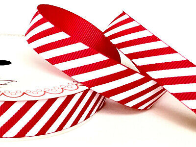 Red & White Candy Cane Stripe Grosgrain Ribbon 16mm 1M - Full 25M Roll - Craft • 5.25£