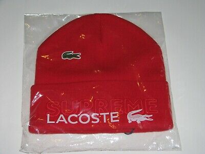 $ CDN133.33 • Buy Lacoste X SUPREME New York Beanie RED Winter Hat Cap NEW F/W 2019 Live