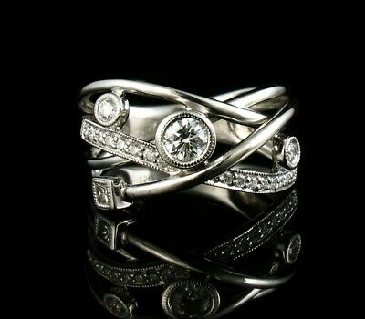 $1100 • Buy PETER LAM FINE NATURAL 1/2ctw DIAMOND SOLID 18K WHITE GOLD WIDE BAND ORBIT RING