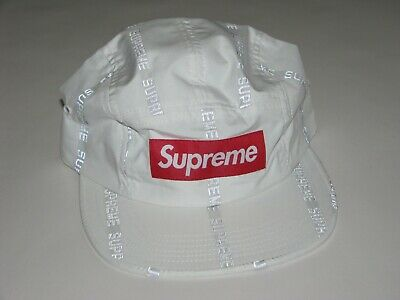 $ CDN138.21 • Buy SUPREME Reflective Text Stripe Camp Cap WHITE Hat Adjustable NEW F/W 18 USA Made