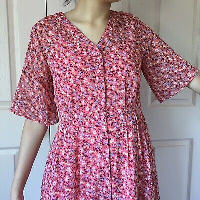 AU5 • Buy Uniqlo Red Pink Floral Floaty Spring Garden Breezy Midi Dress Vintage Style XS