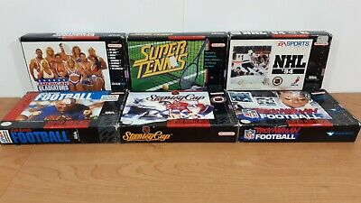 $ CDN44.99 • Buy 6x Nintendo SNES Super Sports Games Lot NHL 94 Tennis Stanley Cup Football ++