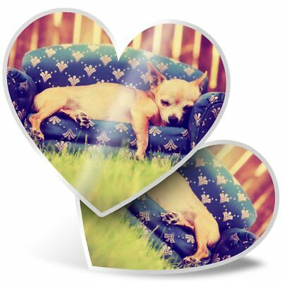 £3.99 • Buy 2 X Heart Stickers 7.5 Cm - Cute Chihuahua Puppy Dog  #8130