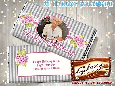 £1.95 • Buy PERSONALISED Photo CHOCOLATE BAR WRAPPER Fits Galaxy 110g Birthday Gift Striped