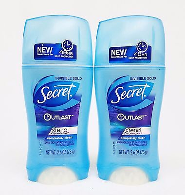 2 Secret Outlast COMPLETELY CLEAN Invisible Solid Antiperspirant Deodorant Women • 15.18£