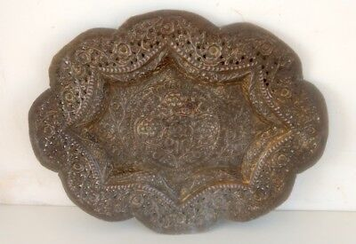 Vintage Old Hand Carved Embossed Flower Carving Brass Islamic Mughal Tray Plate • 68.15£