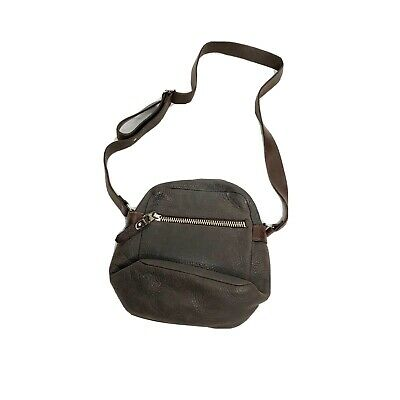 $ CDN219.36 • Buy M0851 Purse Leather Crossbody Small Zippered Gray Adjustable Buttery Leather