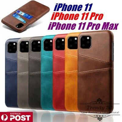 AU9.99 • Buy Leather Back Card Holder Slot PU Hard Slim Case Cover For IPhone 11/ Pro/ Max