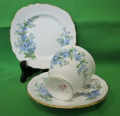 Royal Osborne China Blue Forget Me Not Tea Set Trio #7527 - VGC • 10.50£